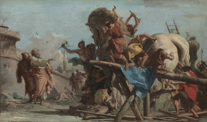 Giovanni Domenico Tiepolo, 1727 - 1804 The Building of the Trojan Horse about 1760 Oil on canvas, 38.8 x 66.7 cm Bought, 1918 NG3318 This painting is part of the group: 'Two Sketches depicting the Trojan Horse' (NG3318-NG3319) https://www.nationalgallery.org.uk/paintings/NG3318