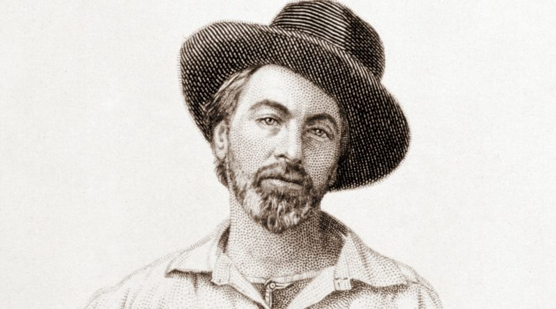 A young Walt Whitman poses with a cool hat, from a steel engraving by Samuel Hollyer (New York, July 1854) of a daguerreotype by Gabriel Harrison (original lost)